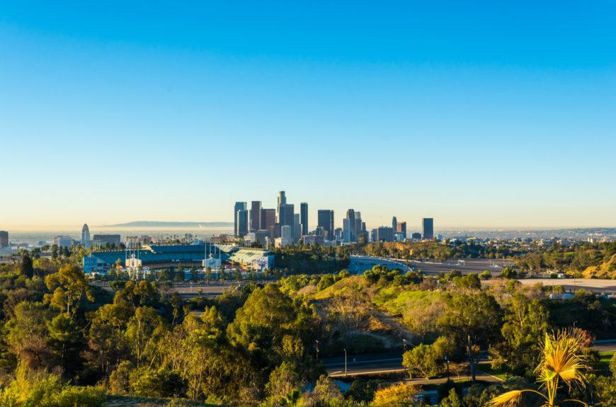Dodger stadium and the LA skyline